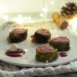 Verza ripiena di tastasale con gelatina di chianti e meringhe salate